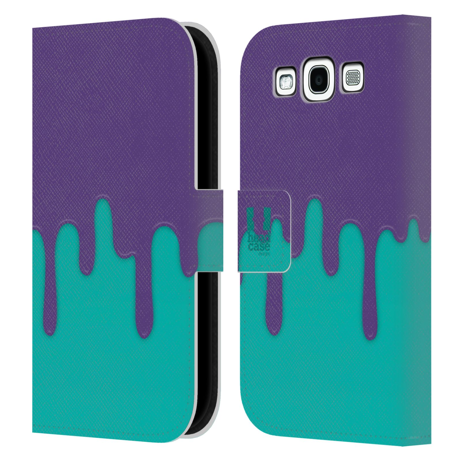 HEAD CASE Flipové pouzdro pro mobil Samsung Galaxy S3 Rozlitá barva fialová a tyrkysová