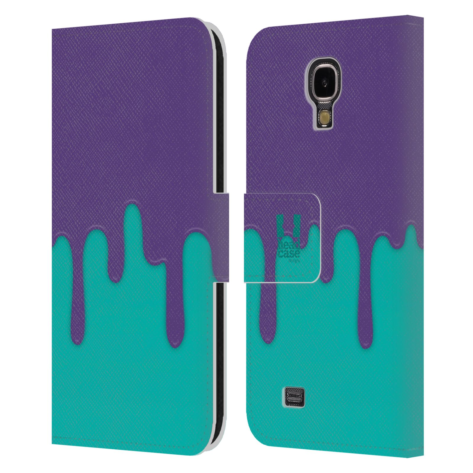 HEAD CASE Flipové pouzdro pro mobil Samsung Galaxy S4 Rozlitá barva fialová a tyrkysová