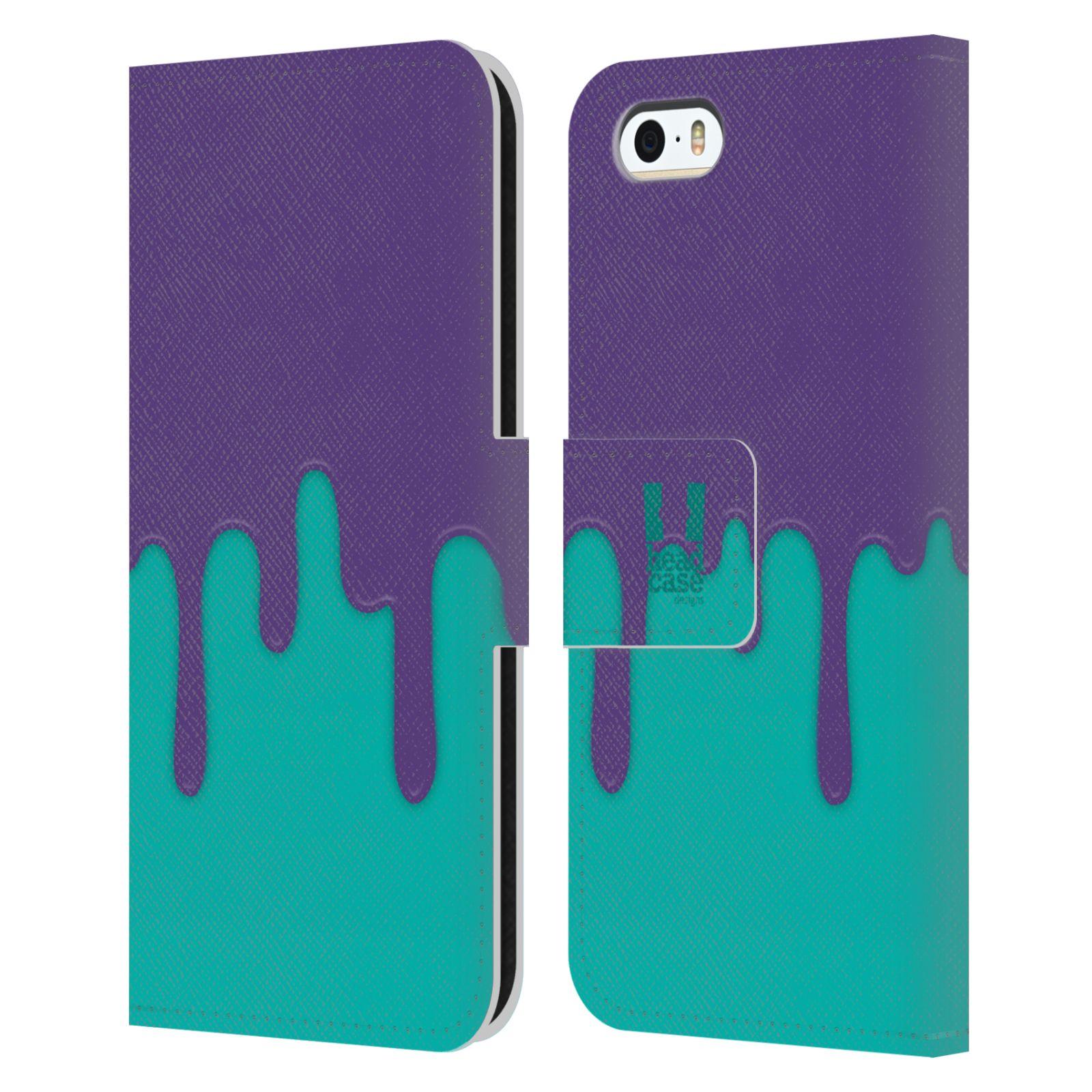 HEAD CASE Flipové pouzdro pro mobil Apple Iphone 5/5s Rozlitá barva fialová a tyrkysová