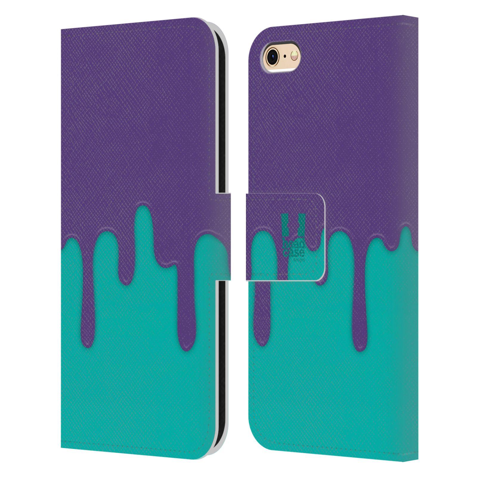 HEAD CASE Flipové pouzdro pro mobil Apple Iphone 6/6s Rozlitá barva fialová a tyrkysová