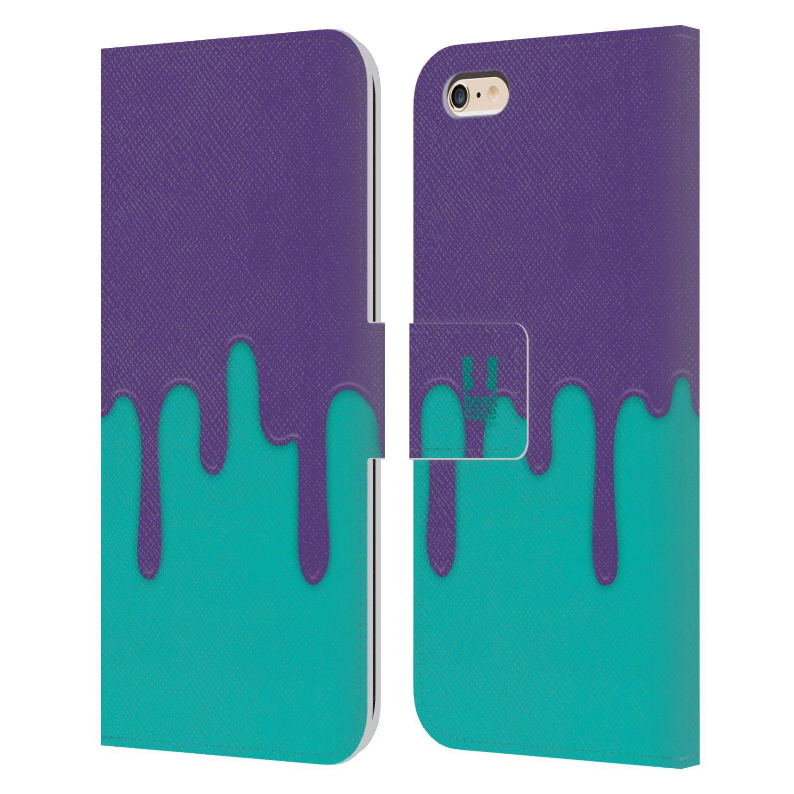 HEAD CASE Flipové pouzdro pro mobil Apple Iphone 6 PLUS / 6S PLUS Rozlitá barva fialová a tyrkysová