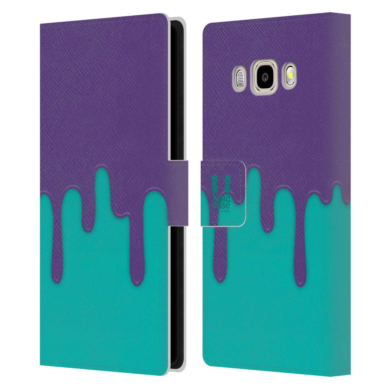 HEAD CASE Flipové pouzdro pro mobil Samsung Galaxy J5 2016 Rozlitá barva fialová a tyrkysová