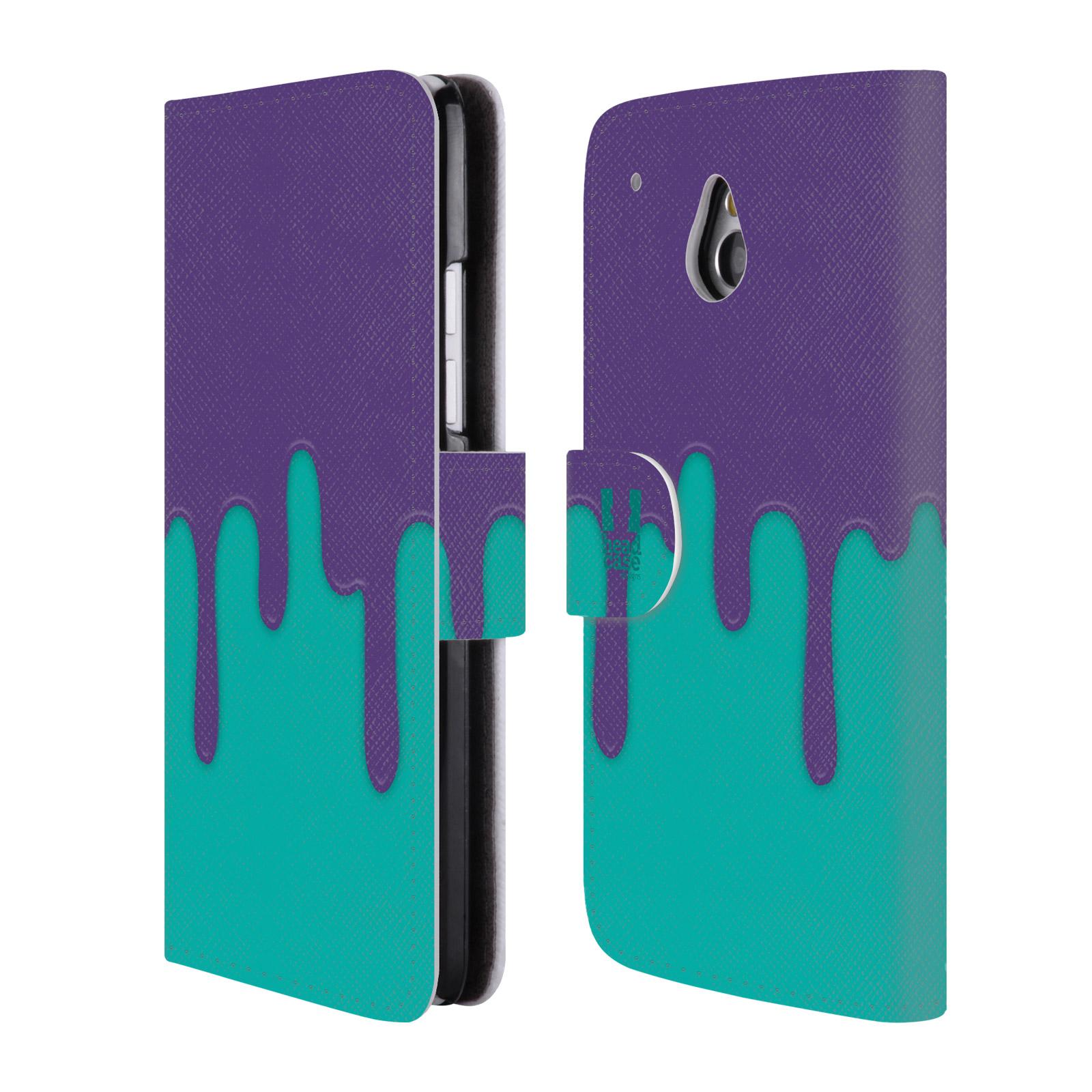 HEAD CASE Flipové pouzdro pro mobil HTC ONE MINI (M4) Rozlitá barva fialová a tyrkysová