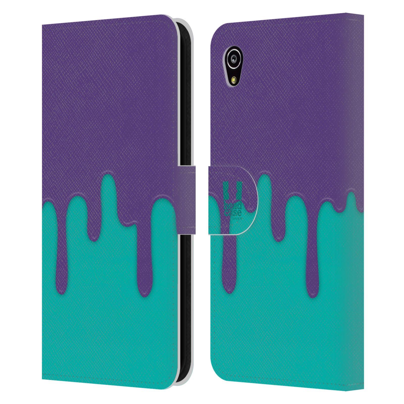 HEAD CASE Flipové pouzdro pro mobil SONY XPERIA M4 AQUA Rozlitá barva fialová a tyrkysová