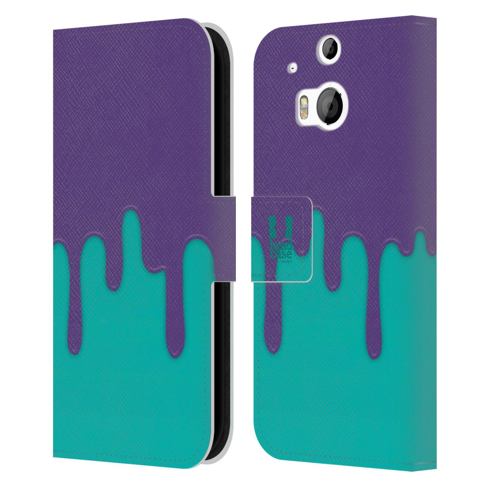 HEAD CASE Flipové pouzdro pro mobil HTC ONE (M8, M8s) Rozlitá barva fialová a tyrkysová