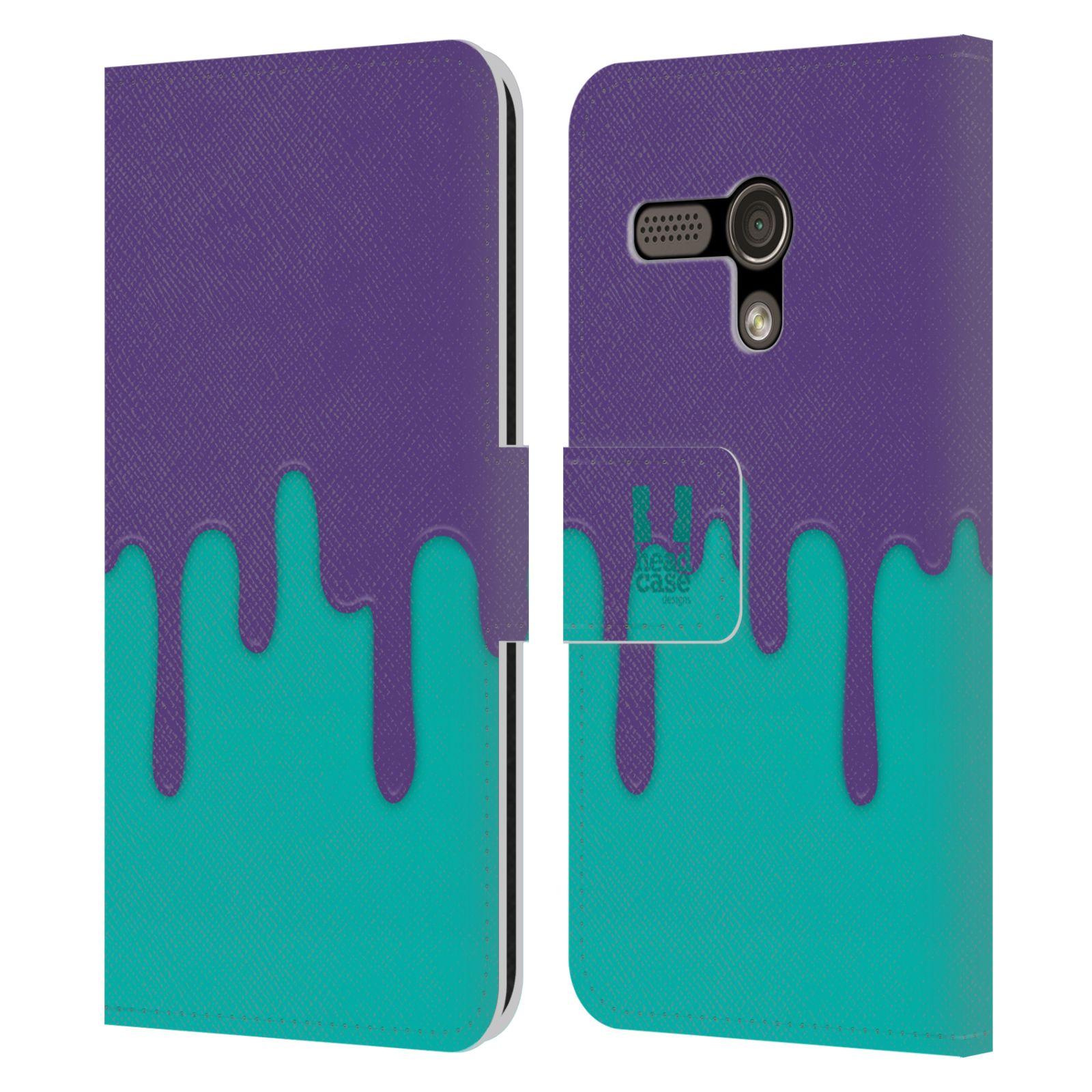 HEAD CASE Flipové pouzdro pro mobil MOTOROLA MOTO G Rozlitá barva fialová a tyrkysová