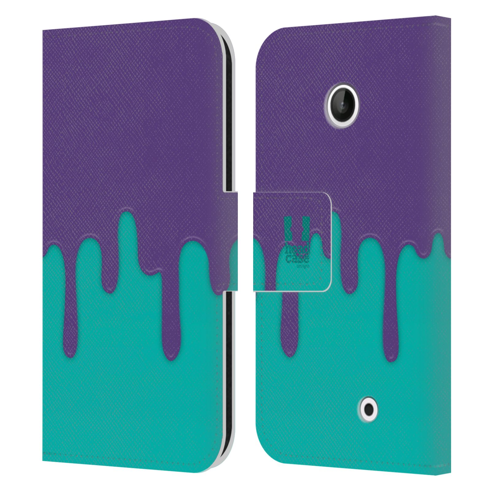 HEAD CASE Flipové pouzdro pro mobil NOKIA LUMIA 630 / LUMIA 630 DUAL Rozlitá barva fialová a tyrkysová