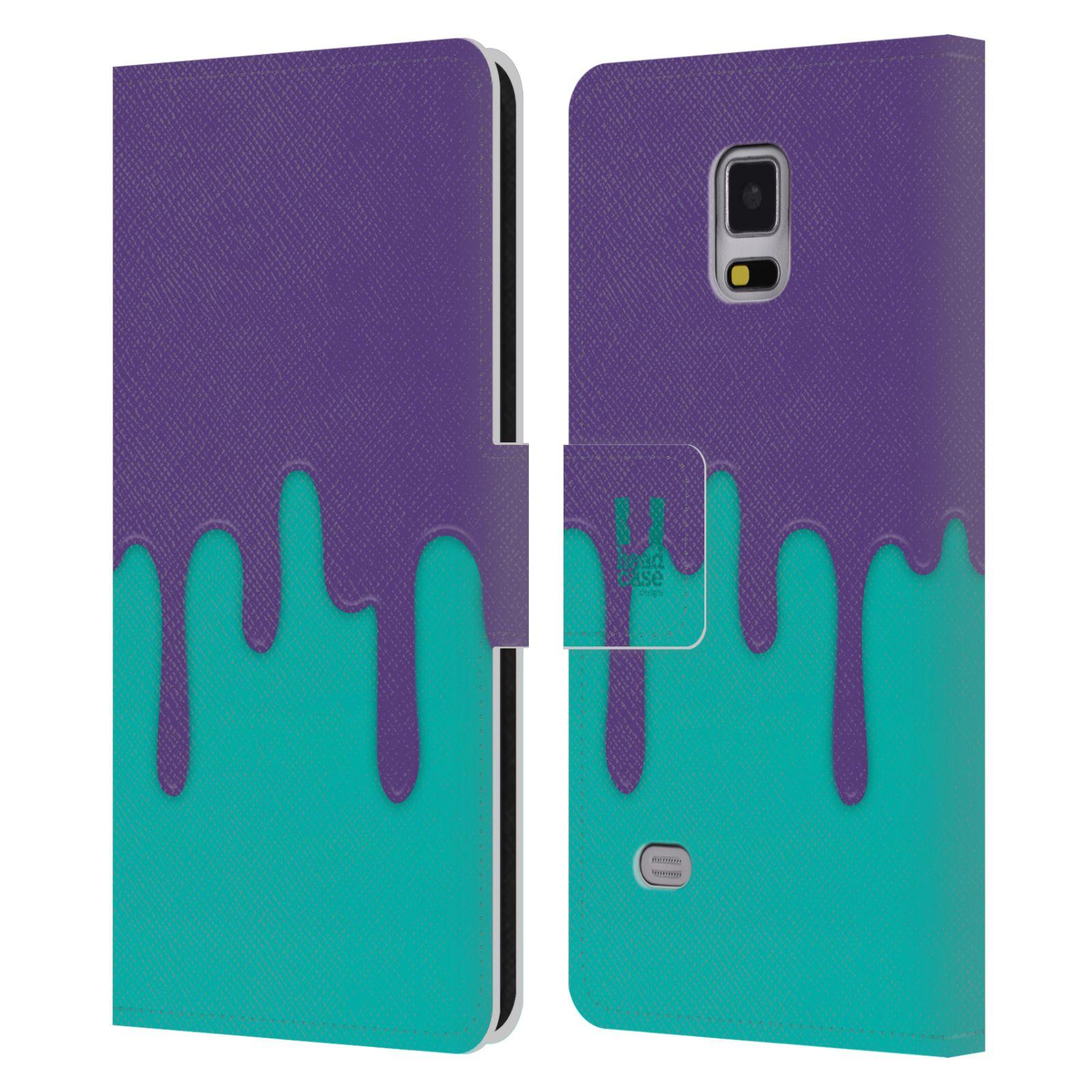 HEAD CASE Flipové pouzdro pro mobil Samsung Galaxy Note 4 Rozlitá barva fialová a tyrkysová