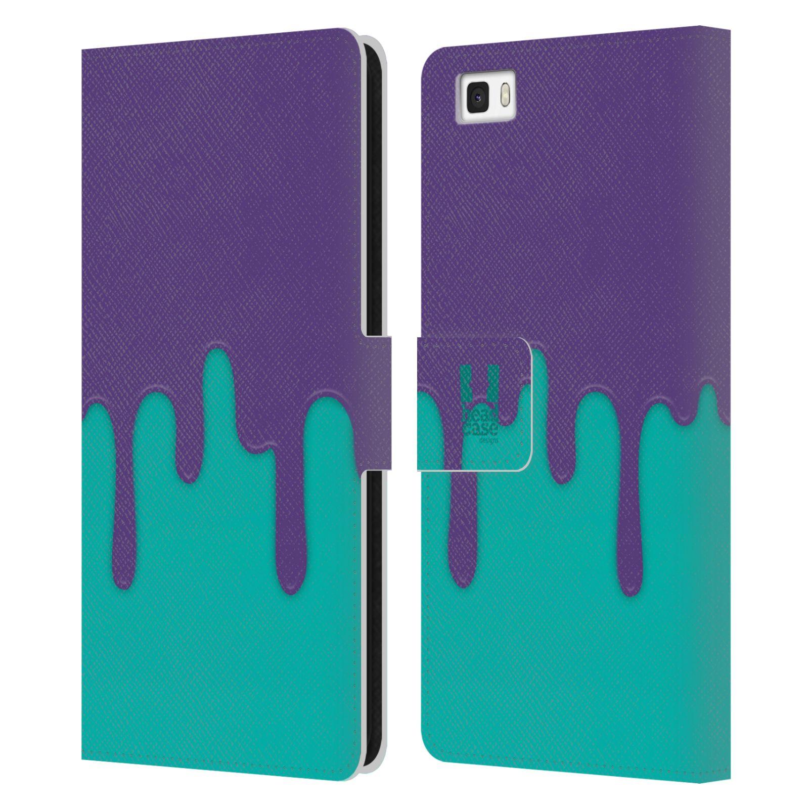 HEAD CASE Flipové pouzdro pro mobil Huawei P8 LITE Rozlitá barva fialová a tyrkysová