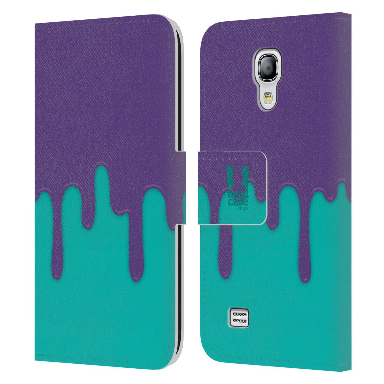 HEAD CASE Flipové pouzdro pro mobil Samsung Galaxy S4 MINI / S4 MINI DUOS Rozlitá barva fialová a tyrkysová