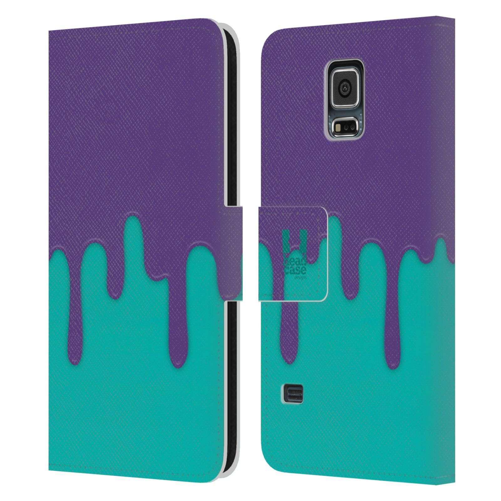 HEAD CASE Flipové pouzdro pro mobil Samsung Galaxy S5 / S5 NEO Rozlitá barva fialová a tyrkysová