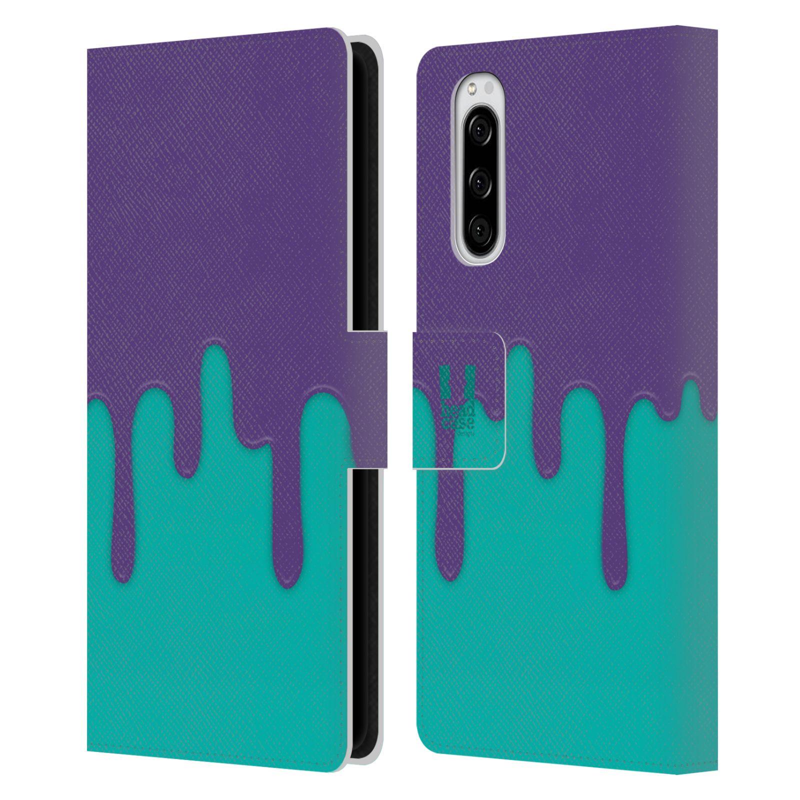 Pouzdro na mobil Sony Xperia 5 Rozlitá barva fialová a tyrkysová