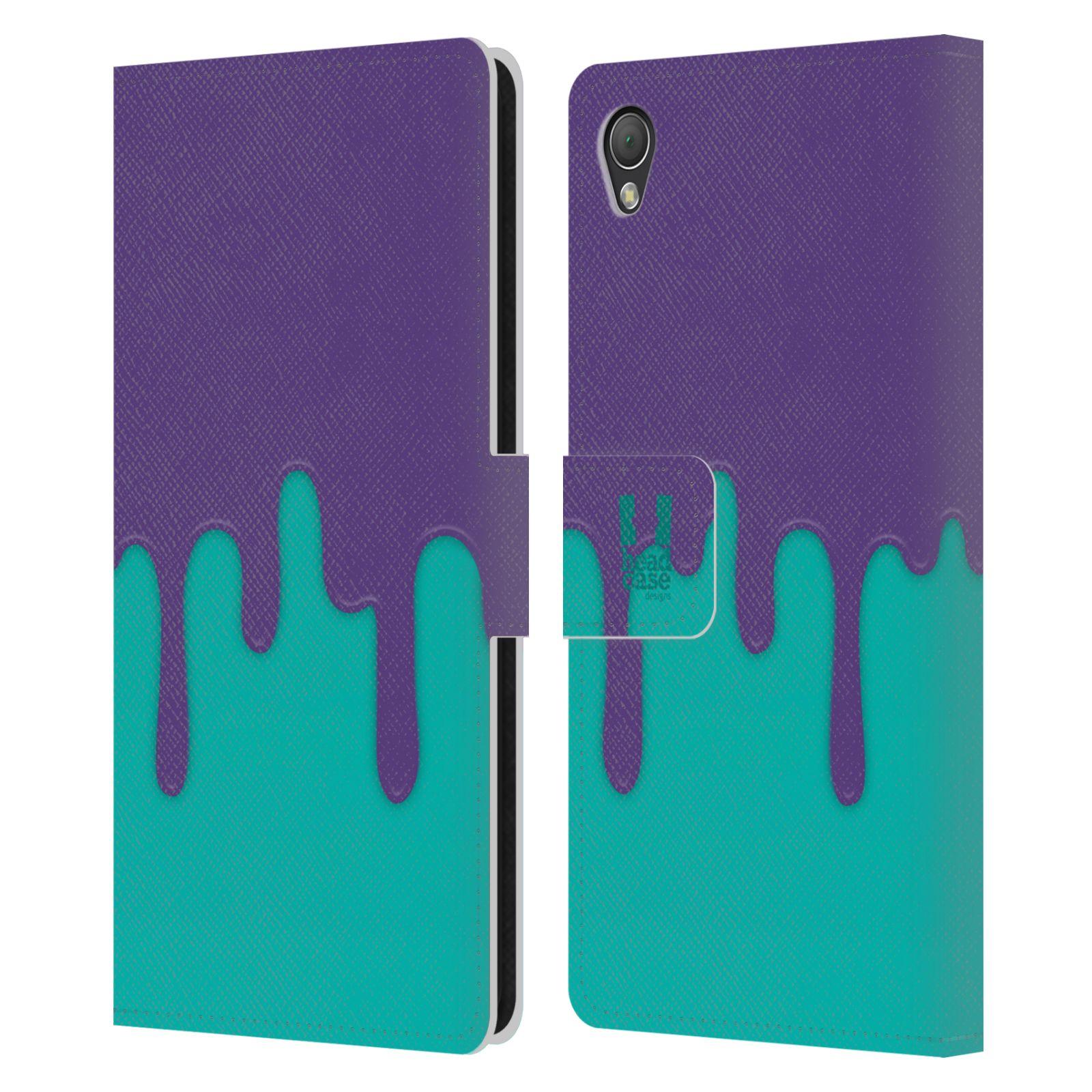 HEAD CASE Flipové pouzdro pro mobil SONY XPERIA Z3 Rozlitá barva fialová a tyrkysová