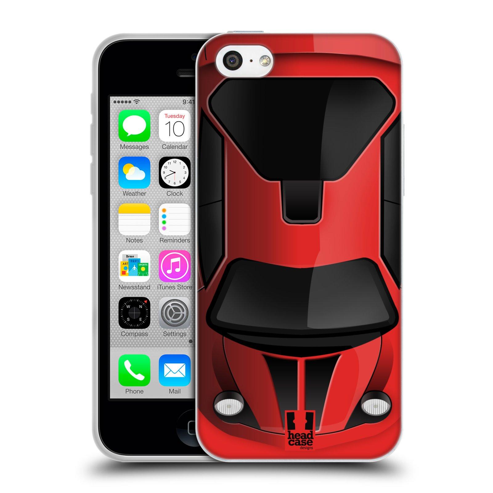 HEAD CASE silikonový obal na mobil Apple Iphone 5C vzor Auto horní pohled červená