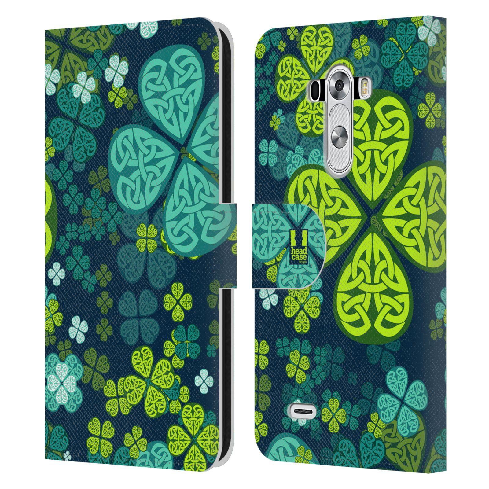 HEAD CASE Flipové pouzdro pro mobil LG G3 (D855) čtyřlístek zářivě zelená keltský motiv