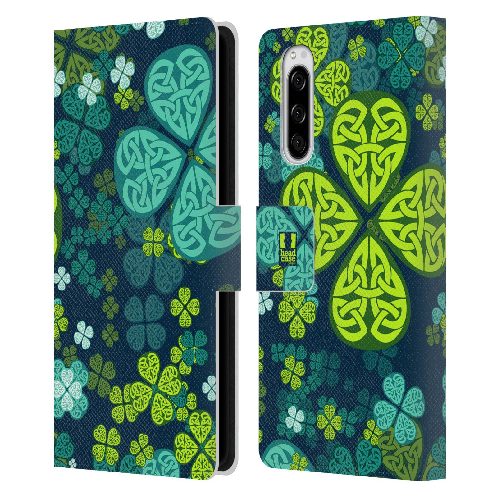 Pouzdro na mobil Sony Xperia 5 čtyřlístek zářivě zelená keltský motiv