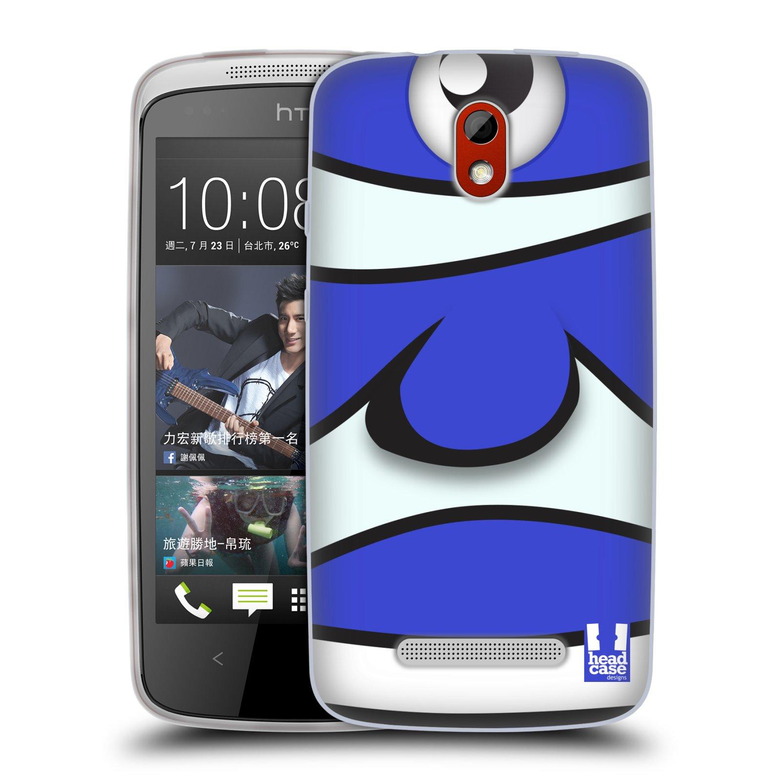 HEAD CASE silikonový obal na mobil HTC DESIRE 500 vzor Rybičky z profilu modrý klaun
