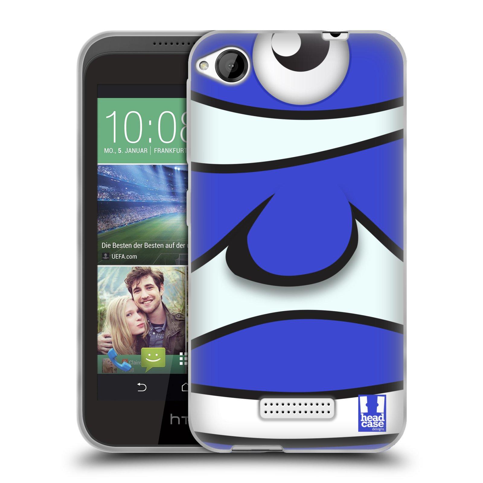HEAD CASE silikonový obal na mobil HTC DESIRE 320 vzor Rybičky z profilu modrý klaun