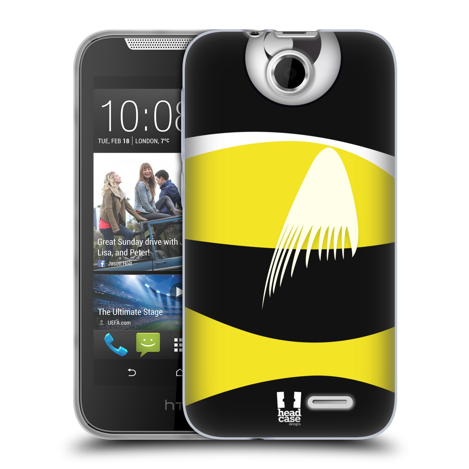 HEAD CASE silikonový obal na mobil HTC DESIRE 310 vzor Rybičky z profilu černá a žlutá