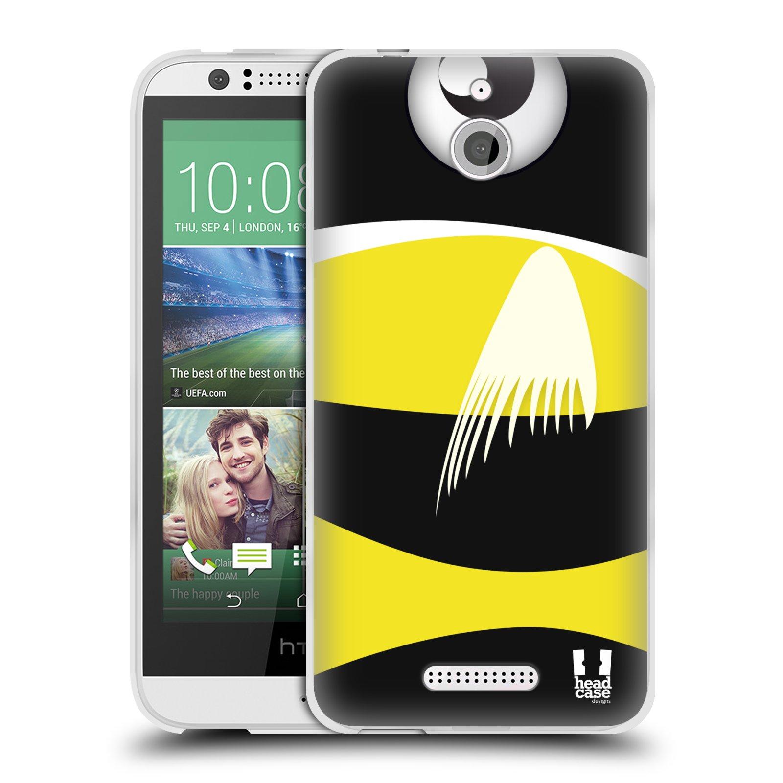 HEAD CASE silikonový obal HTC DESIRE 510 vzor Rybičky z profilu černá a žlutá