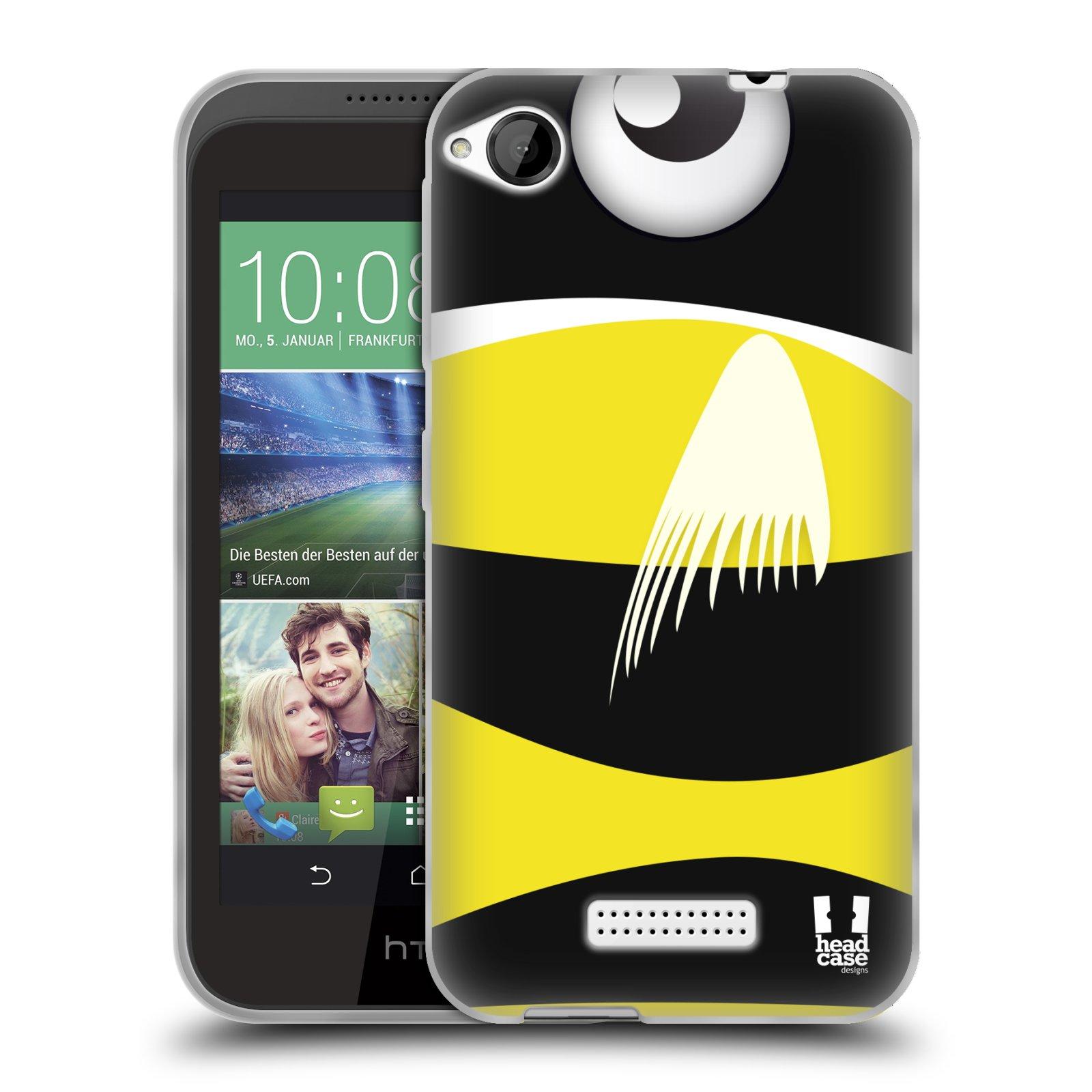 HEAD CASE silikonový obal na mobil HTC DESIRE 320 vzor Rybičky z profilu černá a žlutá
