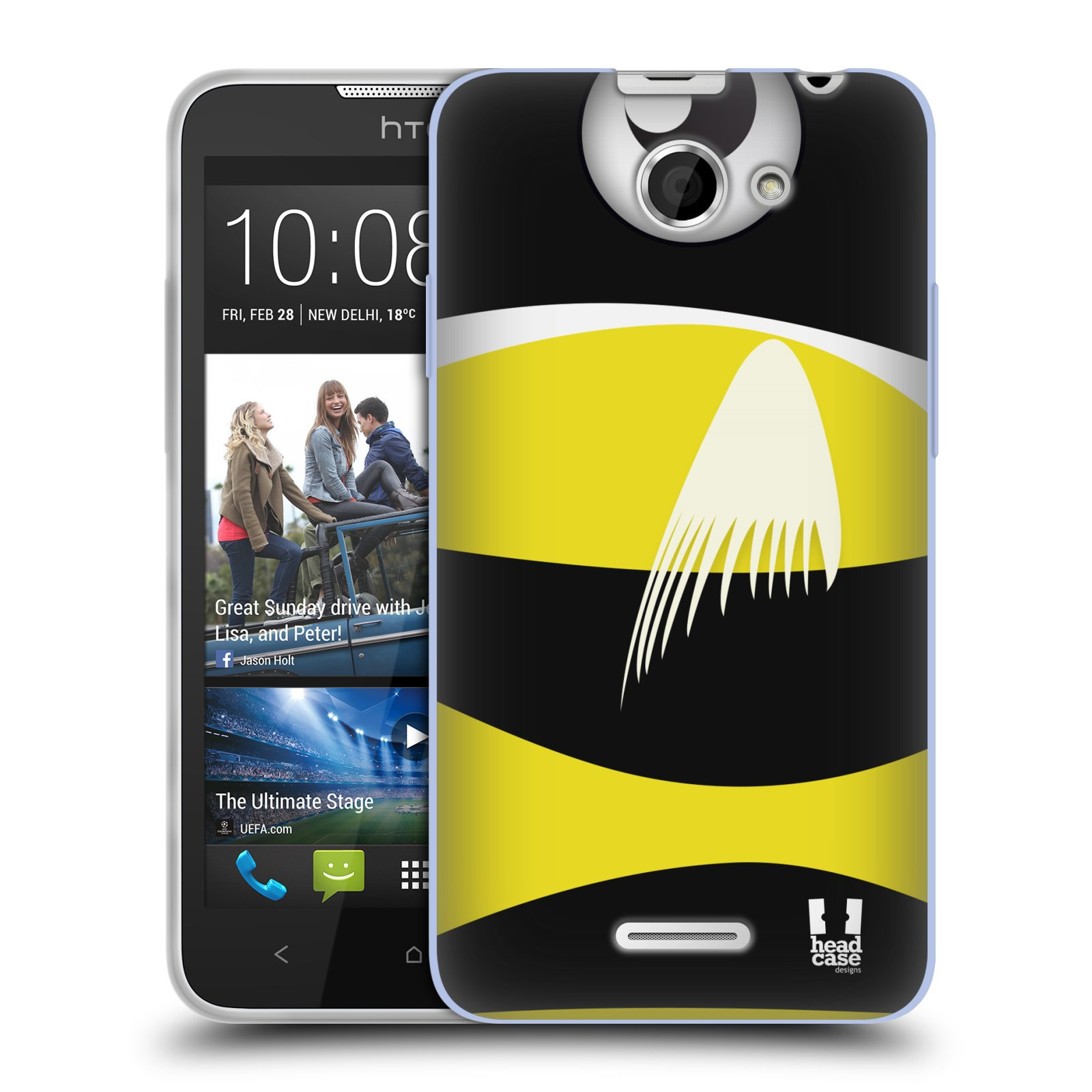 HEAD CASE silikonový obal na mobil HTC DESIRE 516 vzor Rybičky z profilu černá a žlutá
