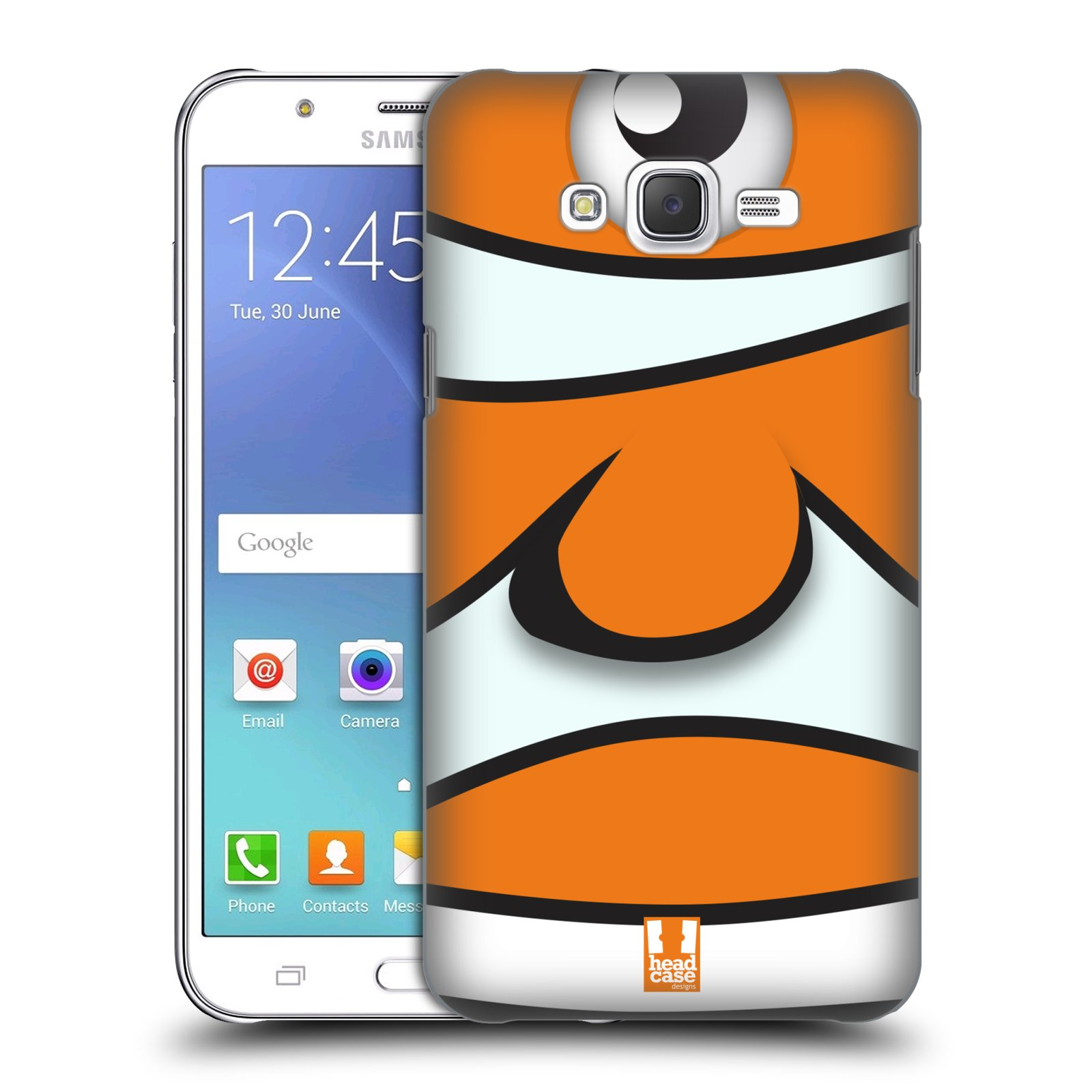 HEAD CASE plastový obal na mobil SAMSUNG Galaxy J7, J700 vzor Rybičky z profilu klaun oranžová NEMO