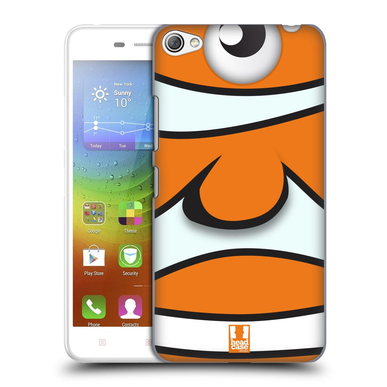 HEAD CASE pevný plastový obal na mobil LENOVO S60 / LENOVO S60 DUAL SIM vzor Rybičky z profilu klaun oranžová NEMO