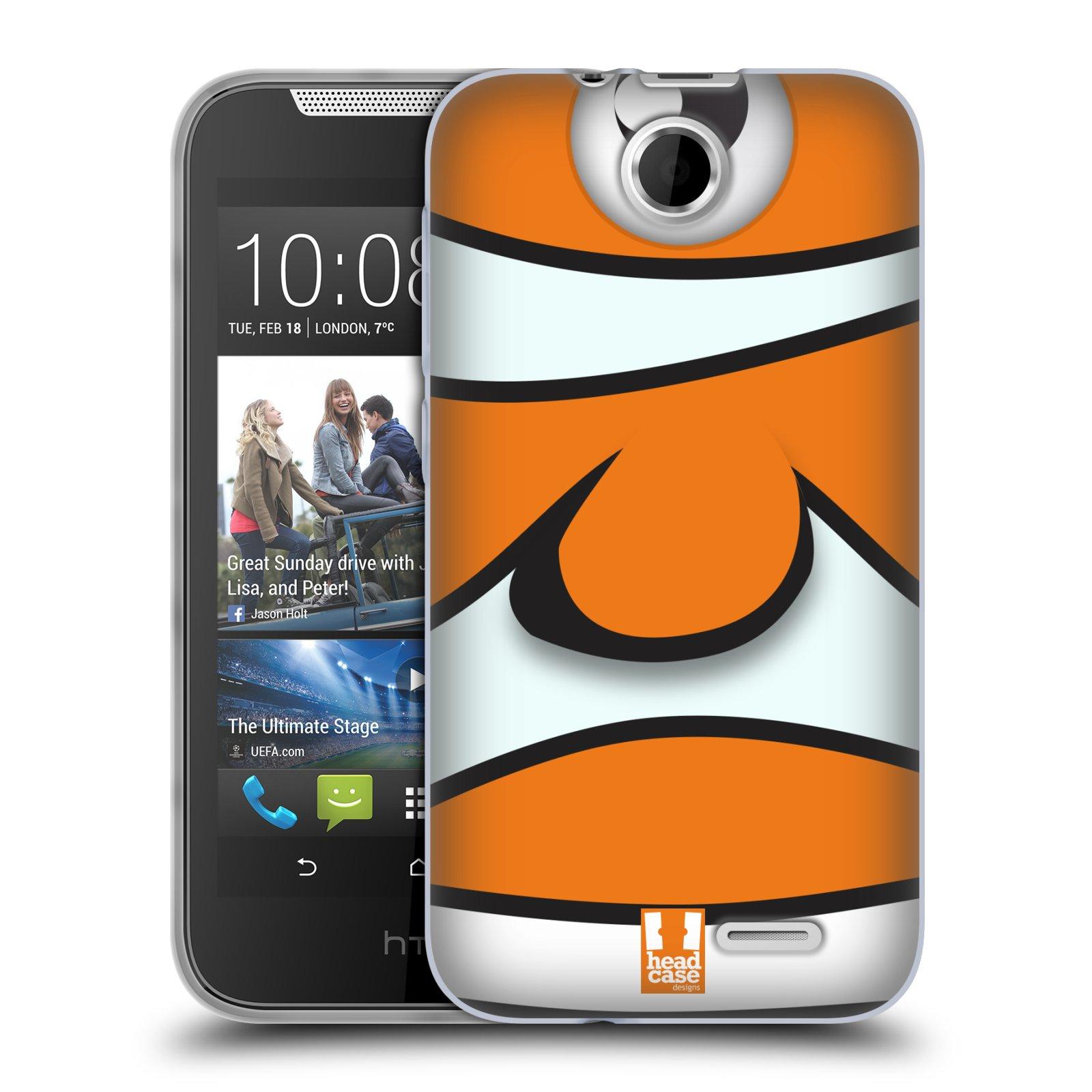 HEAD CASE silikonový obal na mobil HTC DESIRE 310 vzor Rybičky z profilu klaun oranžová NEMO