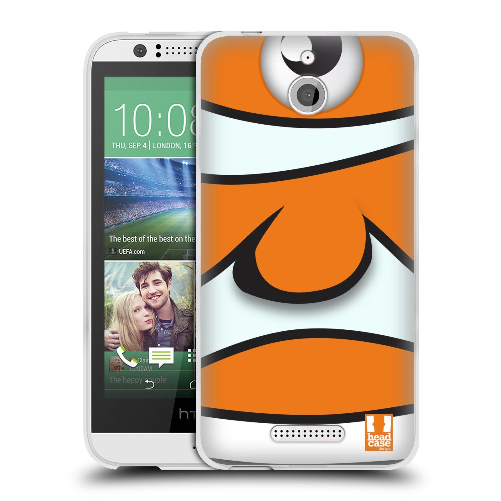 HEAD CASE silikonový obal HTC DESIRE 510 vzor Rybičky z profilu klaun oranžová NEMO