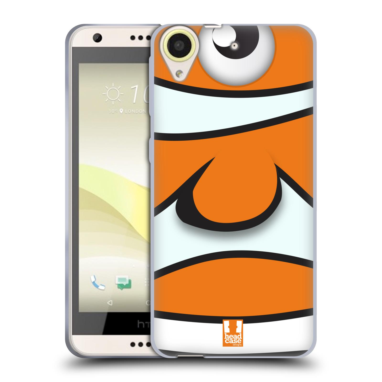 HEAD CASE silikonový obal na mobil HTC Desire 650 vzor Rybičky z profilu klaun oranžová NEMO