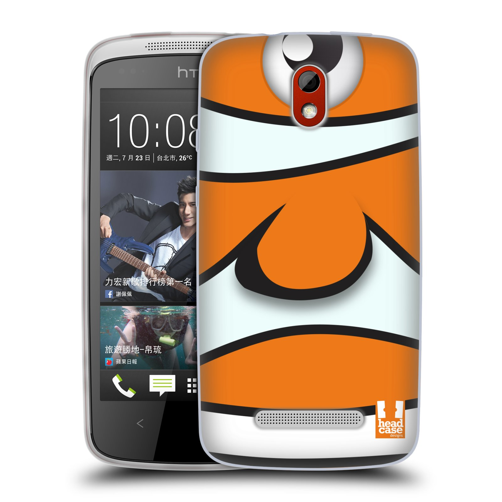 HEAD CASE silikonový obal na mobil HTC DESIRE 500 vzor Rybičky z profilu klaun oranžová NEMO