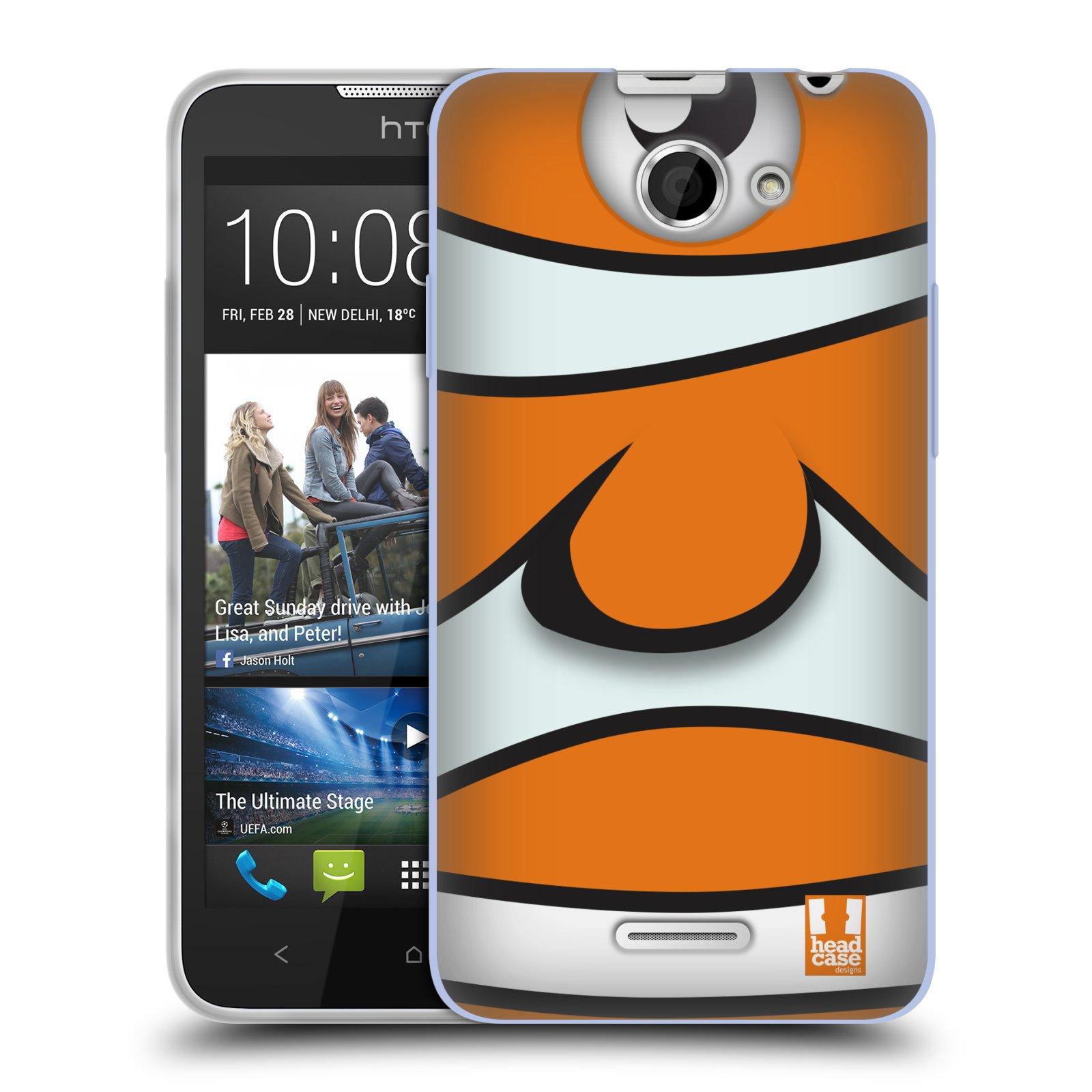 HEAD CASE silikonový obal na mobil HTC DESIRE 516 vzor Rybičky z profilu klaun oranžová NEMO
