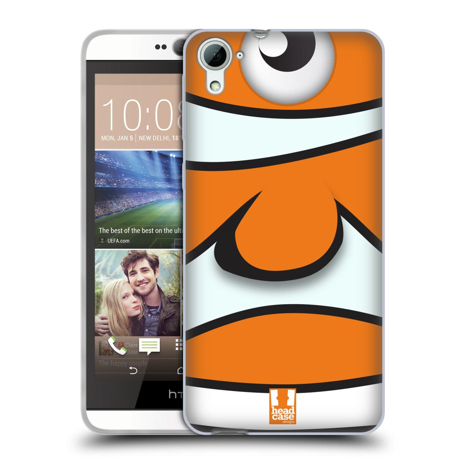 HEAD CASE silikonový obal na mobil HTC DESIRE 826 vzor Rybičky z profilu klaun oranžová NEMO