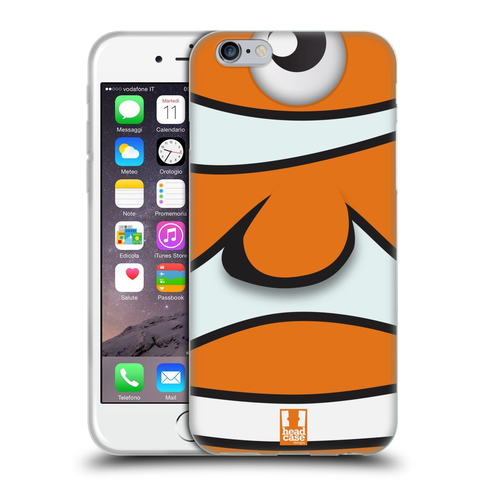 HEAD CASE silikonový obal na mobil Apple Iphone 6/6S vzor Rybičky z profilu klaun oranžová NEMO