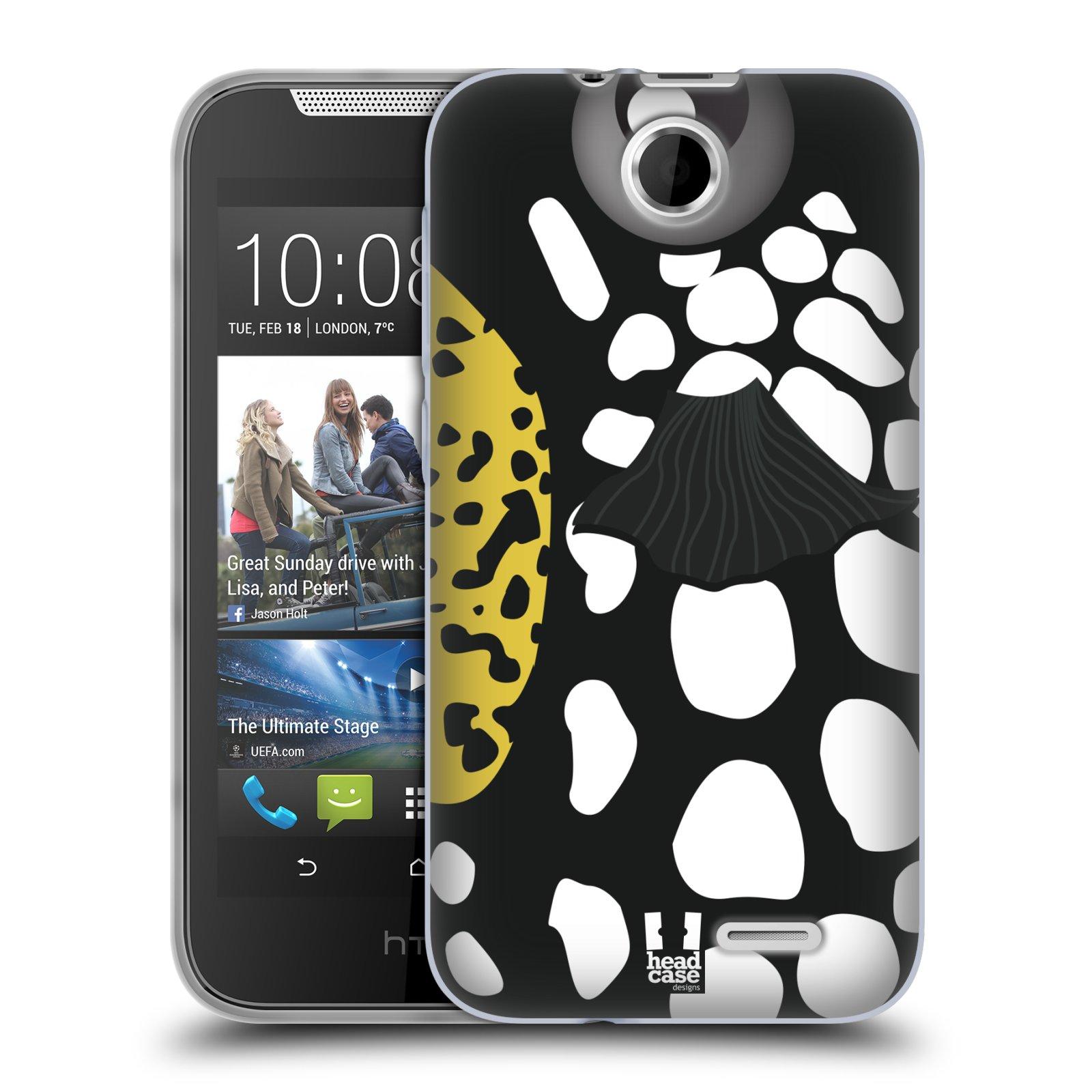 HEAD CASE silikonový obal na mobil HTC DESIRE 310 vzor Rybičky z profilu černá a bílá