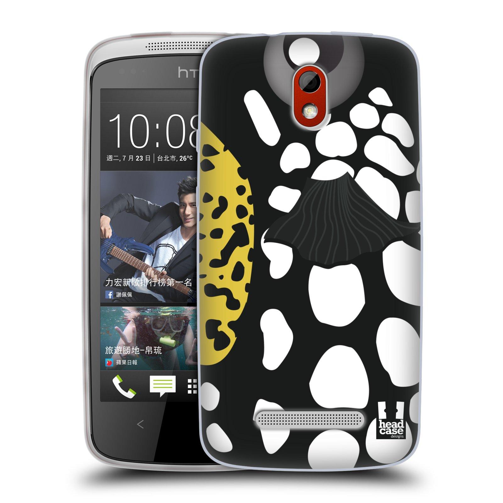 HEAD CASE silikonový obal na mobil HTC DESIRE 500 vzor Rybičky z profilu černá a bílá