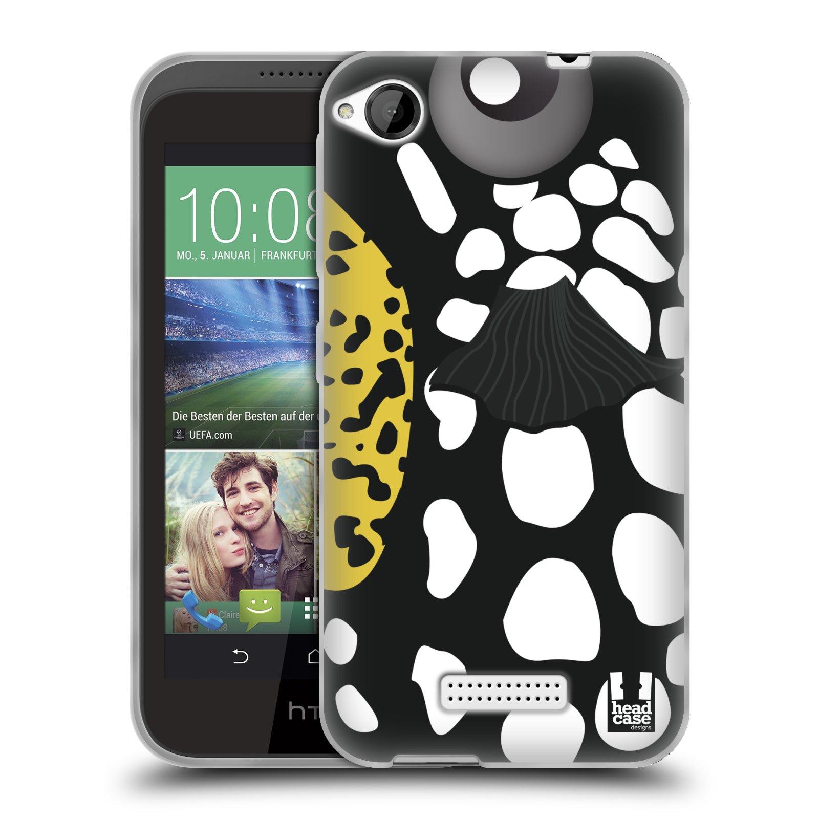 HEAD CASE silikonový obal na mobil HTC DESIRE 320 vzor Rybičky z profilu černá a bílá