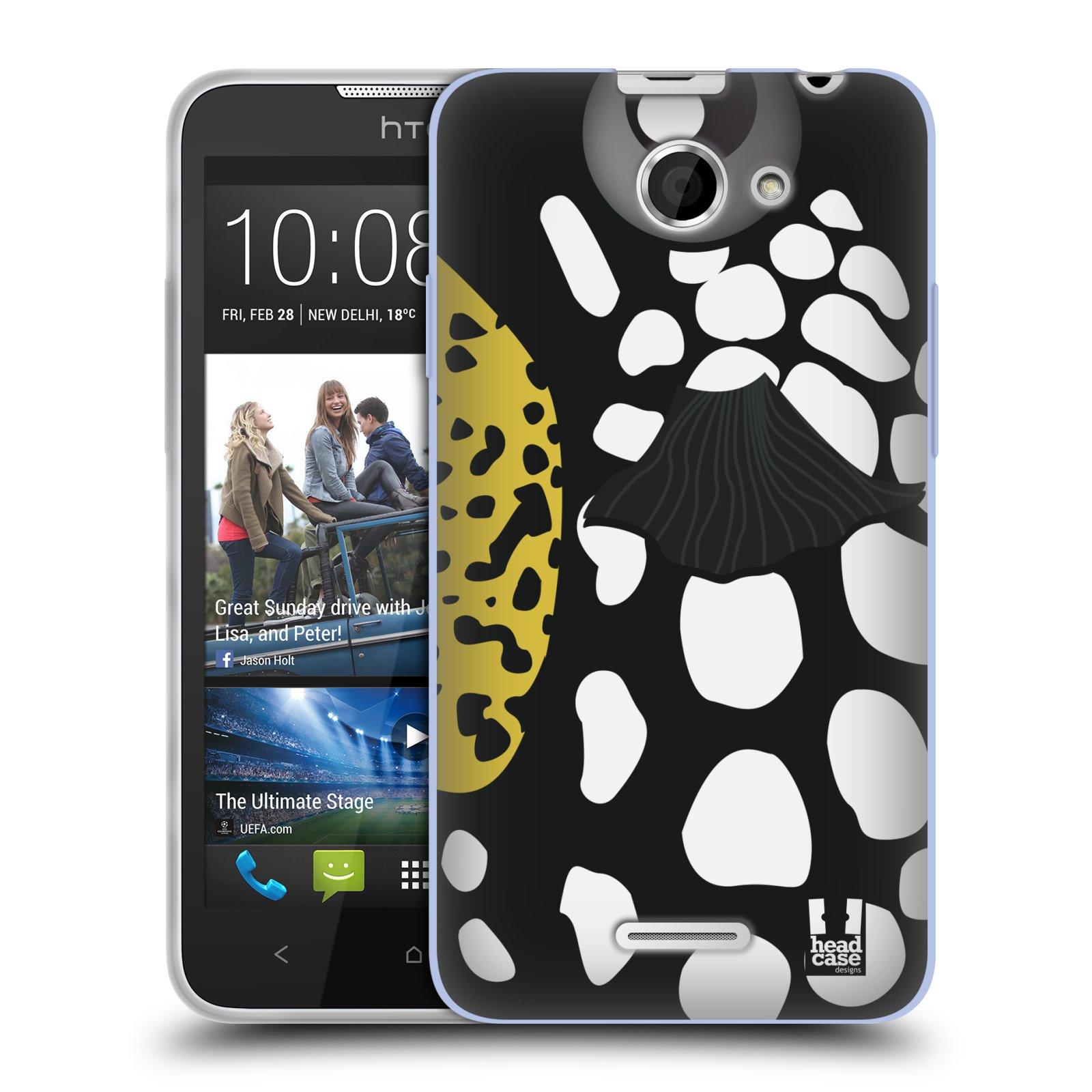 HEAD CASE silikonový obal na mobil HTC DESIRE 516 vzor Rybičky z profilu černá a bílá