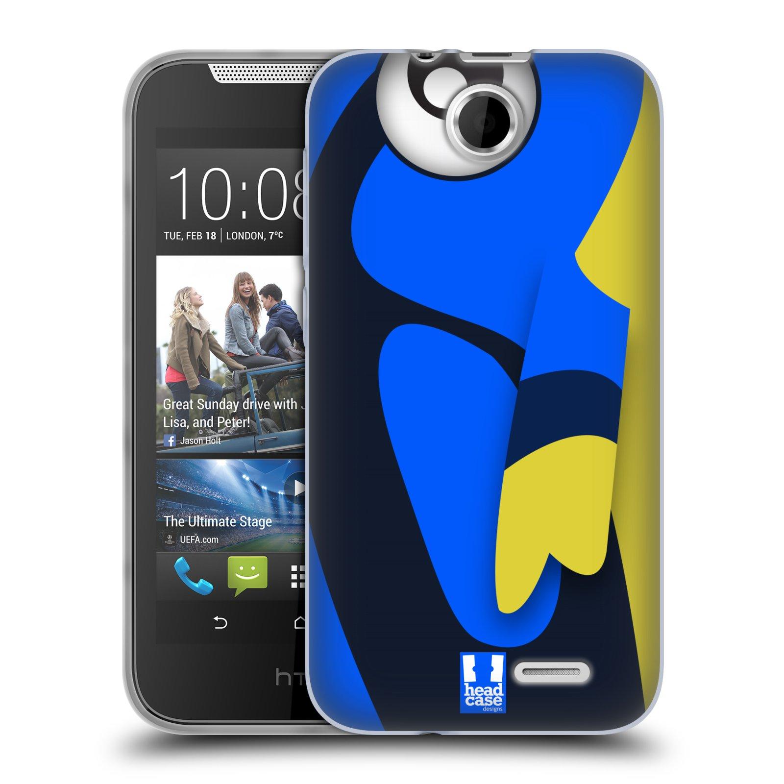 HEAD CASE silikonový obal na mobil HTC DESIRE 310 vzor Rybičky z profilu modrá a žlutá Dory