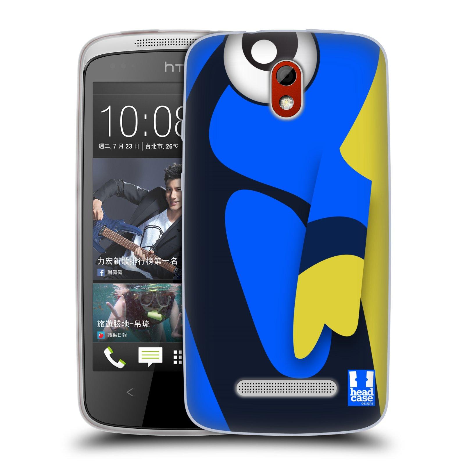 HEAD CASE silikonový obal na mobil HTC DESIRE 500 vzor Rybičky z profilu modrá a žlutá Dory