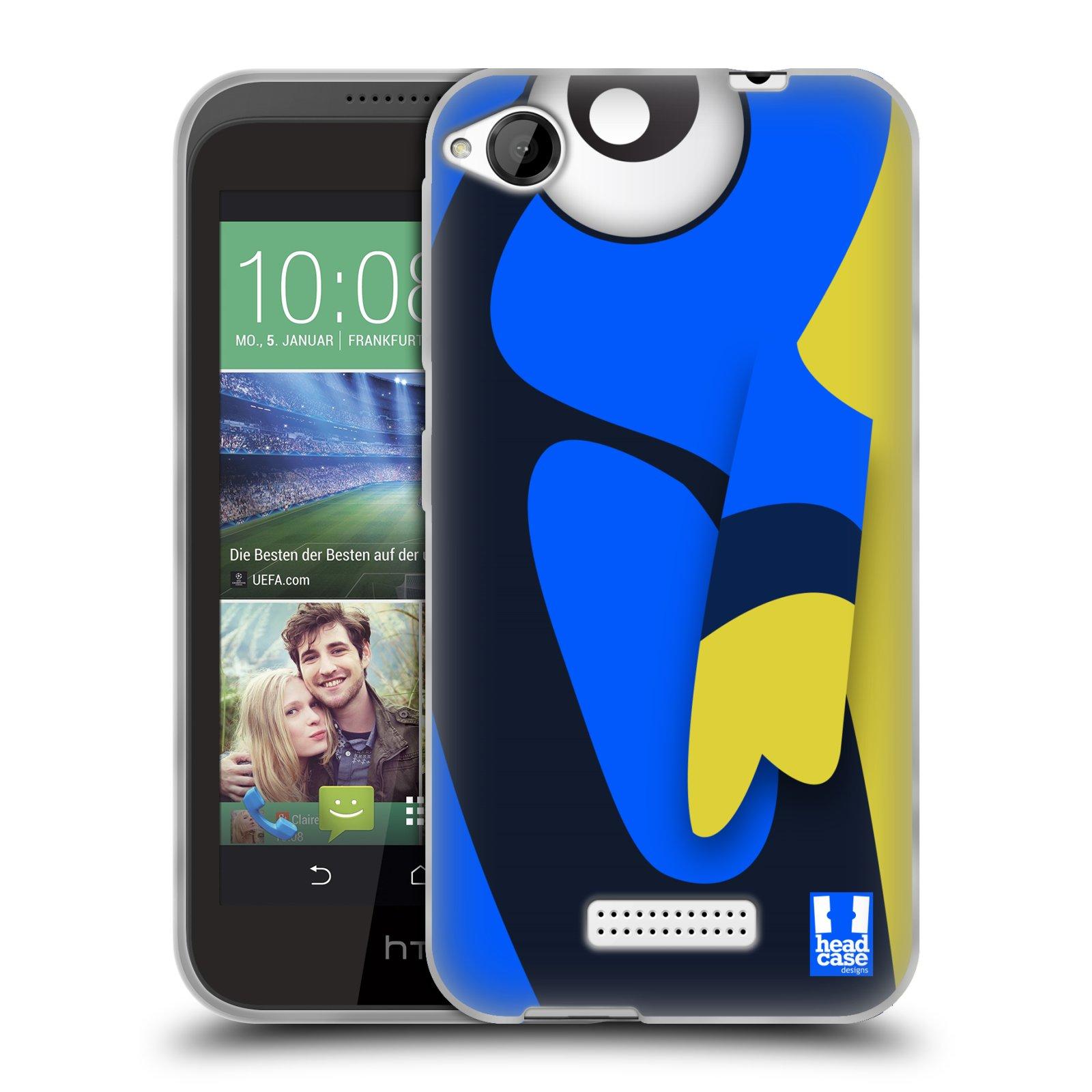 HEAD CASE silikonový obal na mobil HTC DESIRE 320 vzor Rybičky z profilu modrá a žlutá Dory