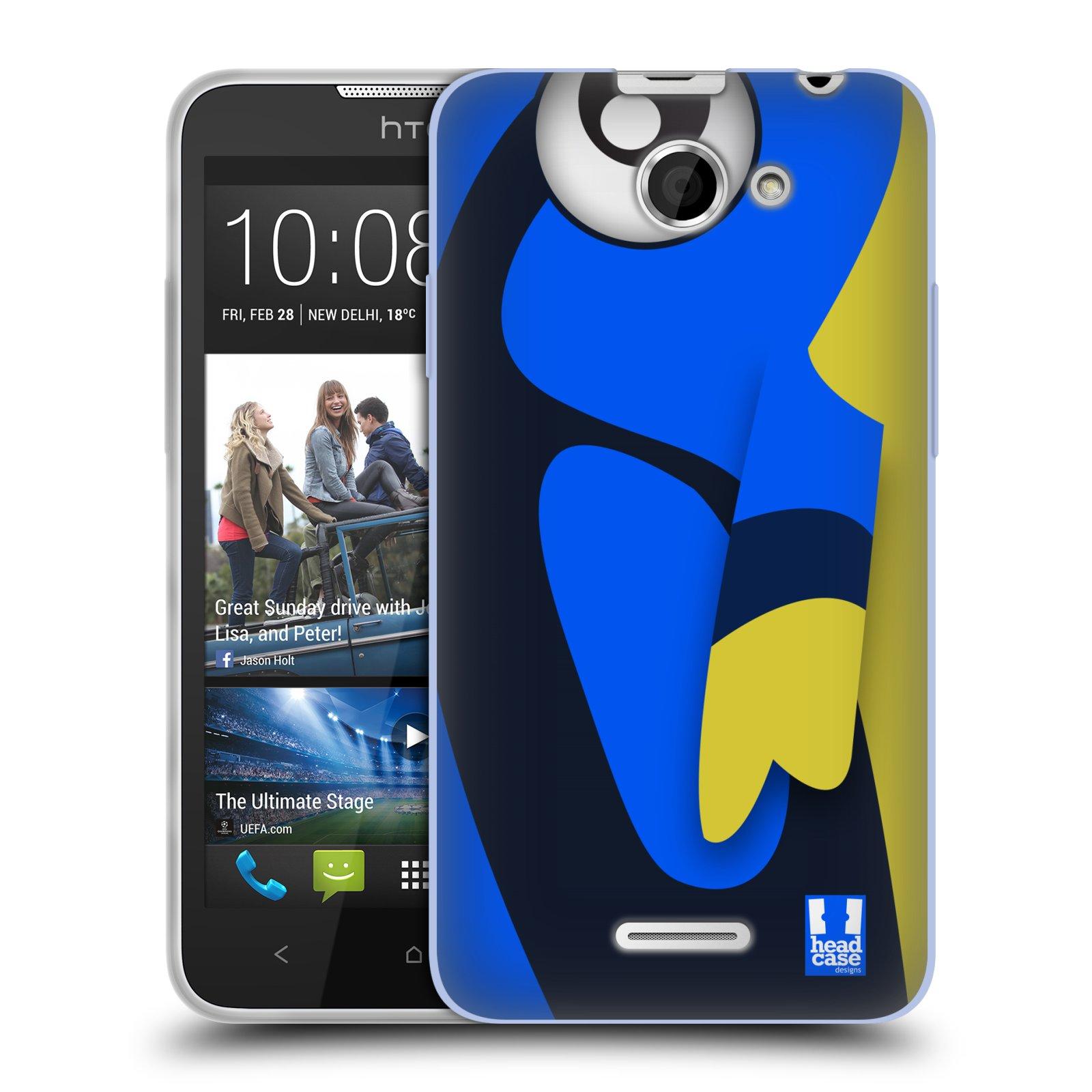 HEAD CASE silikonový obal na mobil HTC DESIRE 516 vzor Rybičky z profilu modrá a žlutá Dory