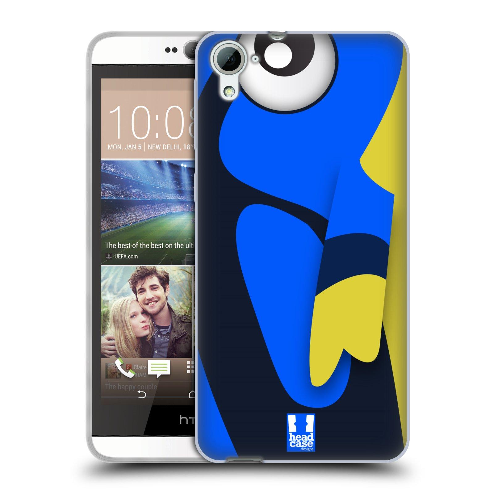 HEAD CASE silikonový obal na mobil HTC DESIRE 826 vzor Rybičky z profilu modrá a žlutá Dory