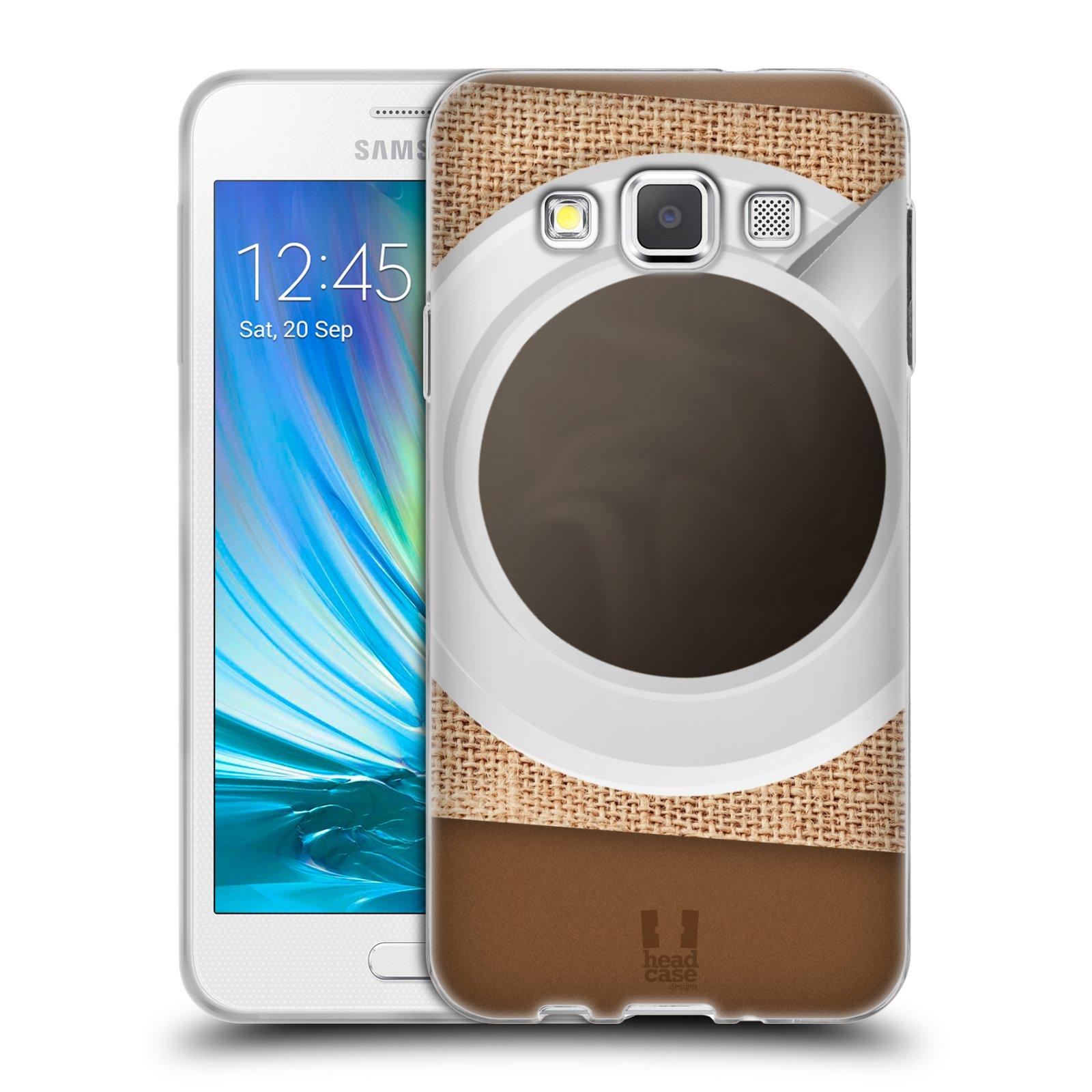 HEAD CASE silikonový obal na mobil Samsung Galaxy A3 vzor maskování kafe na stole