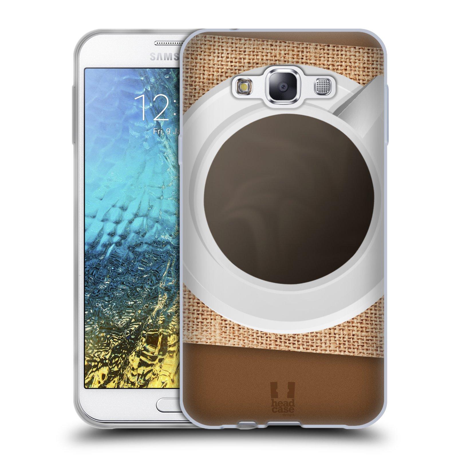 HEAD CASE silikonový obal na mobil Samsung Galaxy E7 vzor maskování kafe na stole