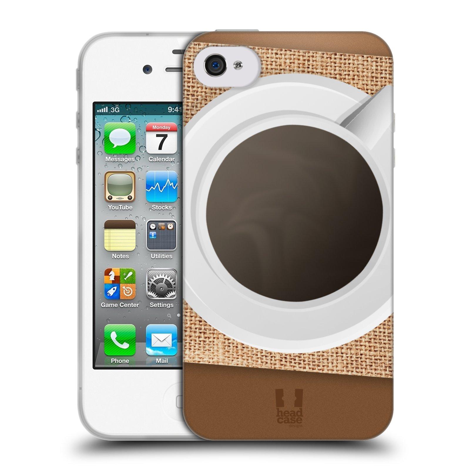 HEAD CASE silikonový obal na mobil Apple Iphone 4/4S vzor maskování kafe na stole
