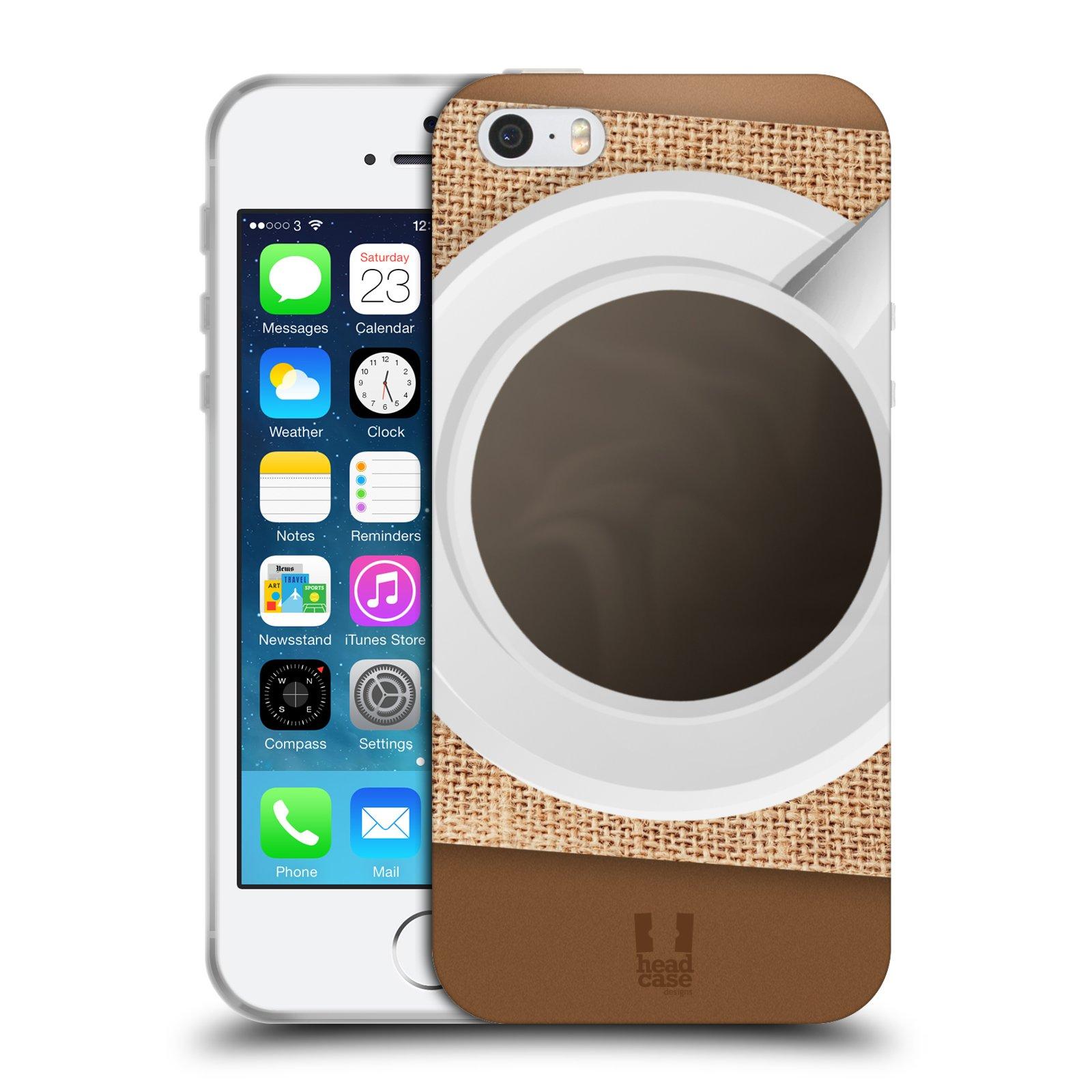 HEAD CASE silikonový obal na mobil Apple Iphone 5/5S vzor maskování kafe na stole