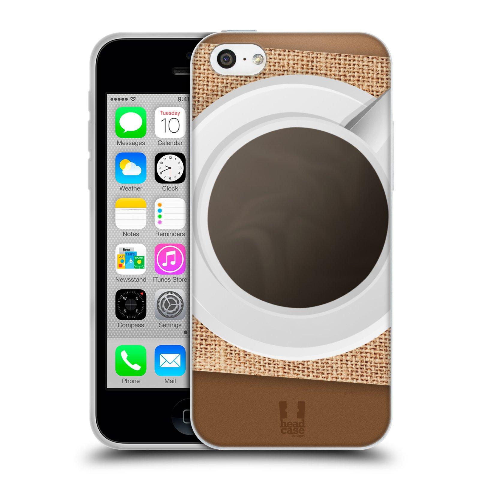 HEAD CASE silikonový obal na mobil Apple Iphone 5C vzor maskování kafe na stole