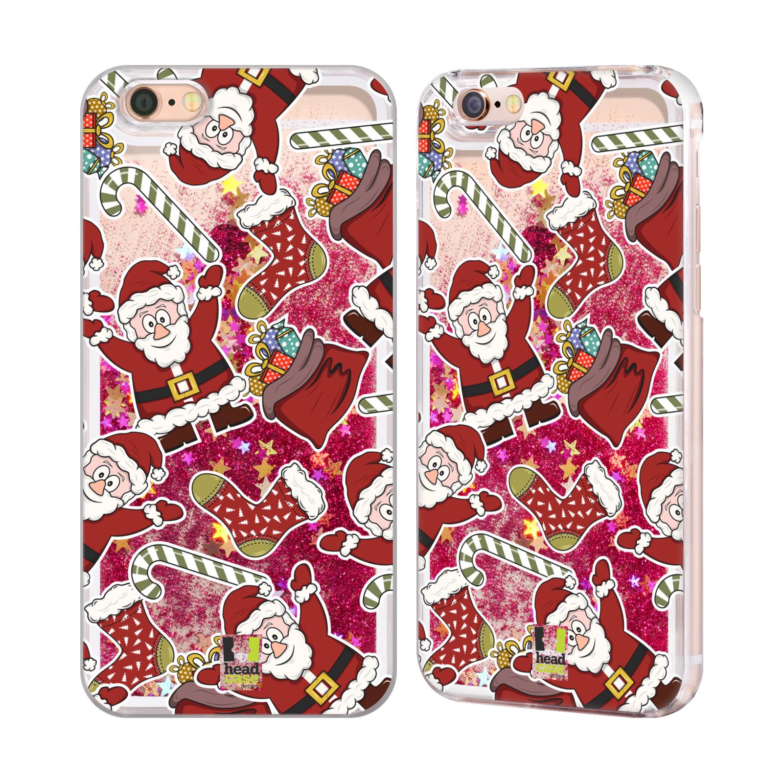 Stampe natalizie cover rosa intenso con glitter per apple for Case pazze